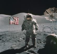 Apollo 17 commander Eugene Cernan poses on the Moon in 1972