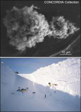microscopic dust grain, taking core samples