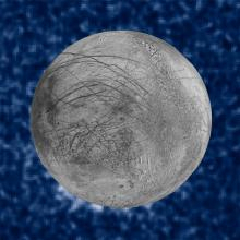 Composite view showing plumes of water eruption from Jupiter's moon Europa
