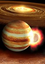 Artist's concept of a small planet smacking into the young Jupiter