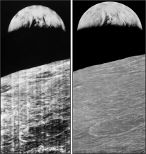 Lunar Orbiter 1 views of Earthrise over the Moon