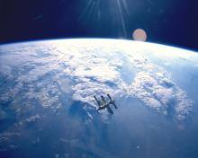 Mir space station seen from space shuttle