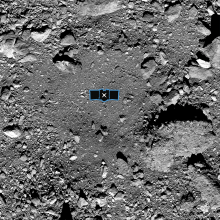 Image of OSIRIS-Rex landing site, with diagram of the spacecraft