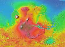 Volcanoes on Tharsis Ridge, Mars