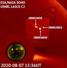 A triple comet near the Sun
