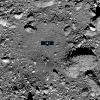 Image of OSIRIS-Rex landing site, with diagram of the spacecraft